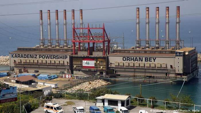 "Karadeniz power plant ship ""Orhan Bey"" docked south of Beirut supports electricity supply to Lebanon (2019)"
