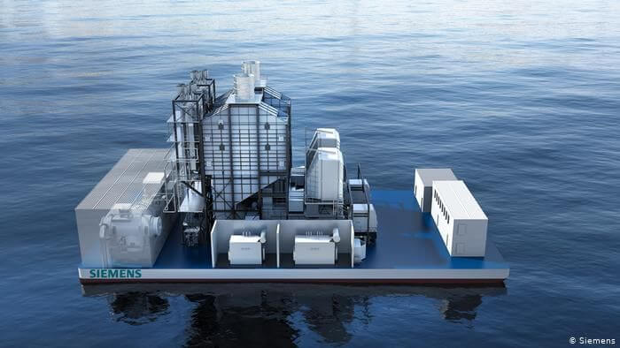Model of a modern floating gas and steam power plant