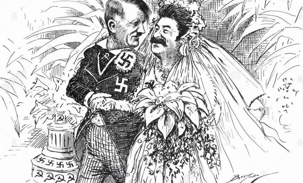 Hitler and Stalin in a portrait displaying them married