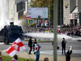 Belarusian security forces used water cannons to disperse protesters