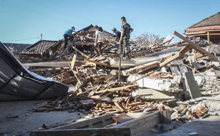 A strong earthquake killed at least ten people