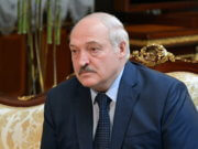 Belarusian President Alexander Lukashenko attends a meeting with Russian Prime Minister Mikhail Mishustin in Minsk